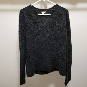 J Crew Wool Sweater Knit V Neck Pullover Fuzzy